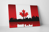 Vintage Canada Flag Over Toronto Skyline