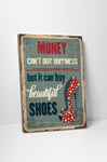 Pixelated Vintage Sign Money Can't Buy Happiness Canvas Wall Art