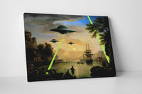 Banksy UFO Attack Stretched Canvas Wall Art