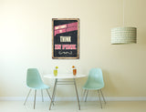Pixelated Vintage Sign Think in Pink Canvas Wall Art