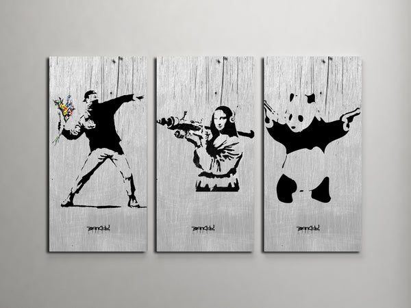 Banksy Flower Thrower, Mona Lisa, Panda Collage Triptych Canvas Wall Art
