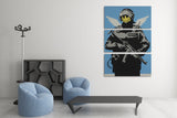 Banksy Smiley Police Trooper Triptych Canvas Wall Art