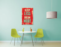 Vintage Sign Sleep Less Dream More Canvas Wall Art