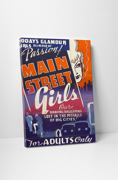 Vintage Ad Poster Main Street Girl Canvas Wall Art