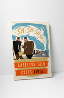 Vintage Ad Poster Careless Talk Canvas Wall Art
