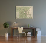 Boston Map Of The Town and Harbor Canvas Wall Art