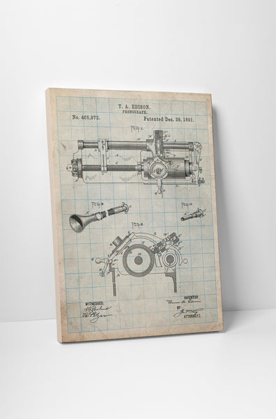 Edison Phonograph Patent Print Canvas Wall Art