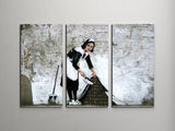 Banksy Maid in London Triptych Canvas Wall Art
