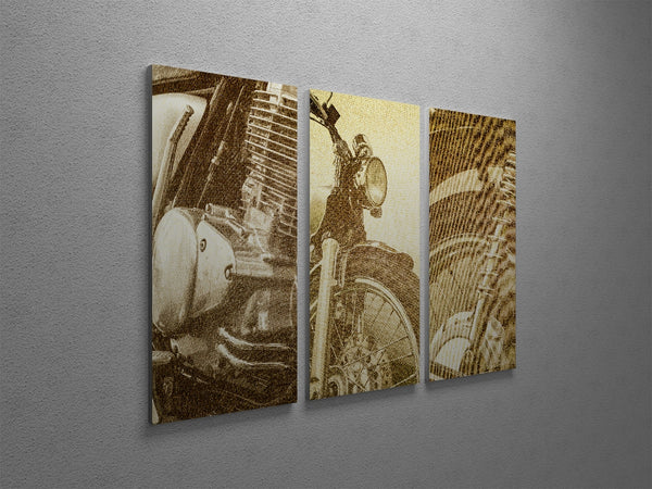 Vintage Motorcycle Collage Canvas Wall Art