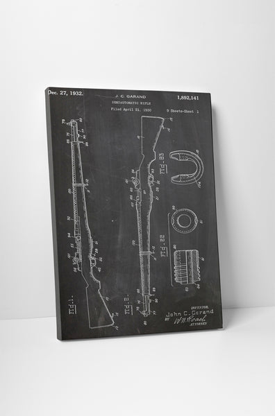 M1 Garand Rifle Patent Canvas Wall Art