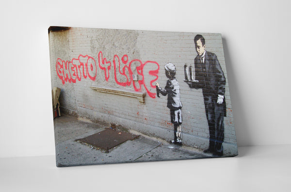 Banksy Ghetto 4 Life Stretched Canvas Wall Art