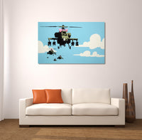 Banksy Happy Choppers Brushed Aluminum Metal Art Print