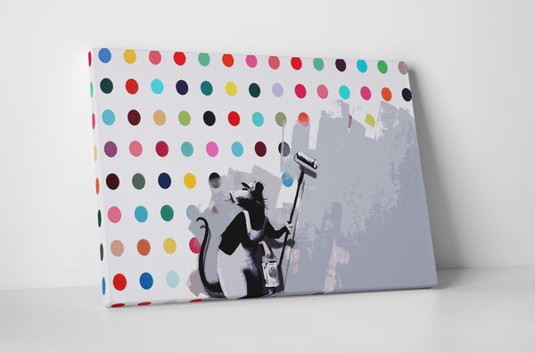 Banksy Dots Rat Canvas Wall Art