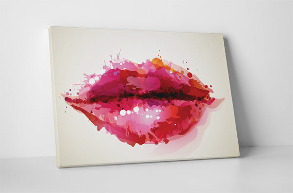 Painted Lips Canvas Wall Art