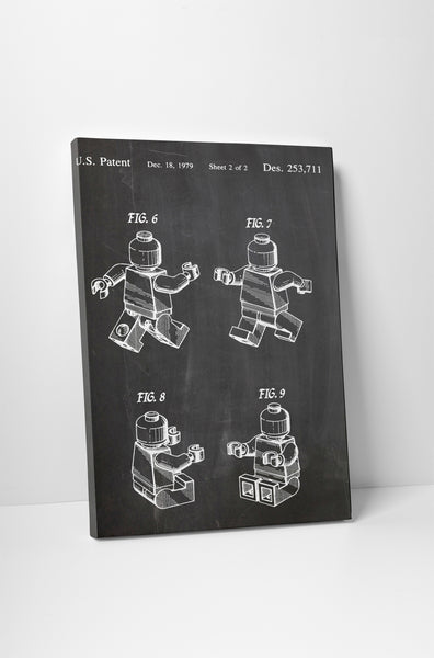 Lego Mini Figure Patent Canvas Wall Art
