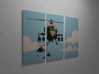 Banksy - Happy Choppers Triptych Canvas Wall Art
