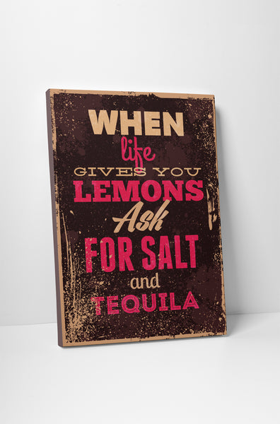 Vintage Sign When Life Gives You Lemons Canvas Wall Art