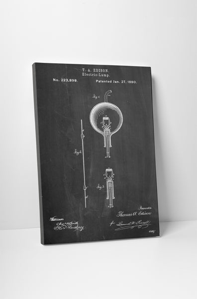 Edison Light Bulb Patent Canvas Wall Art