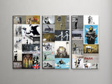 Banksy Mosaic Collage Canvas Triptych Wall Art