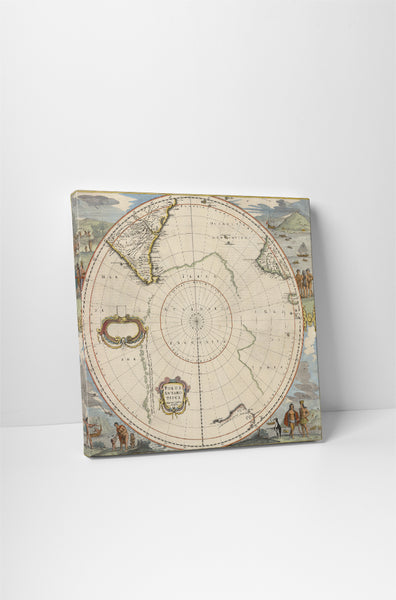 Vintage Map Southern Hemisphere Canvas Wall Art
