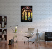 Banksy Stained Window Cathedral Brushed Aluminum Metal Art Print