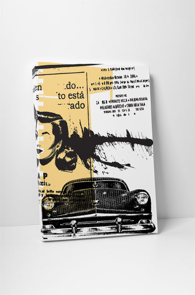 Abstract Car And Spanish Text Canvas Wall Art