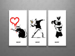 Banksy Love Rat, Flower Thrower, Bomb Hugger Collage Triptych Canvas Wall Art