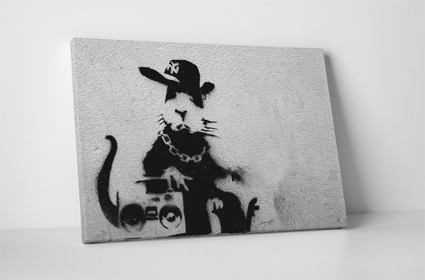 Banksy Boom Box Rat Canvas Wall Art