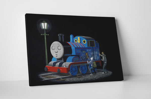 Banksy Sleeping Thomas The Tank Engine Canvas Wall Art