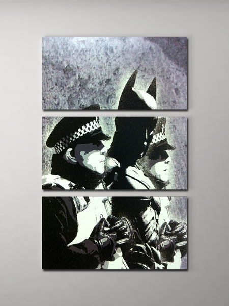 Banksy Batman Arrest Triptych Canvas Wall Art