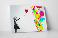 Banksy - Girl With Balloons Colorful Circles Edition