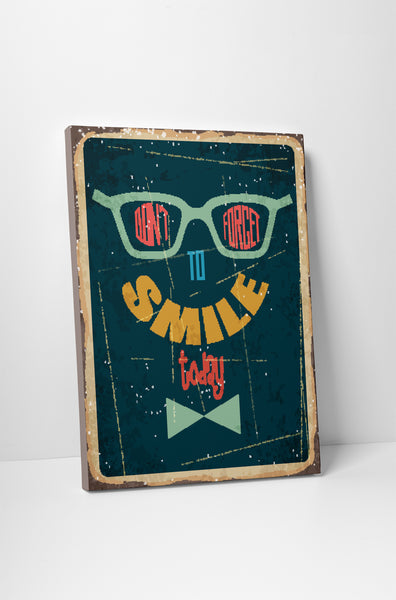 Pixelated Vintage Sign Don't Forget To Smile Canvas Wall Art