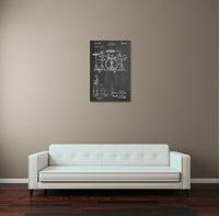 Drum Set Patent Canvas Wall Art