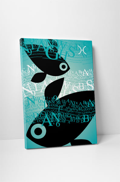 Zodiac Sign Pisces Canvas Wall Art