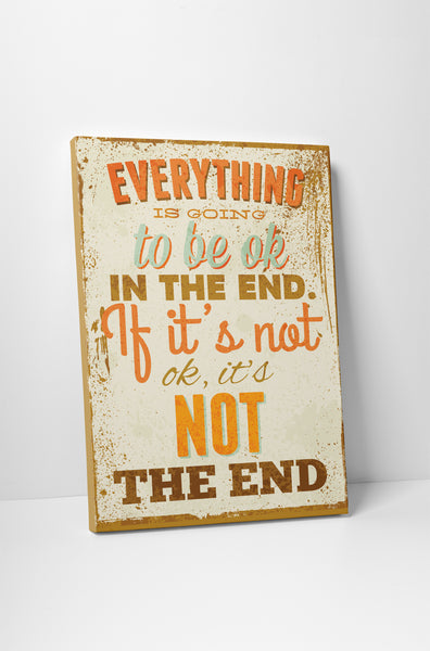 Vintage Sign Everything is Going to Be OK Canvas Wall Art