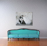 Banksy Maid in London Brushed Aluminum Metal Art Print