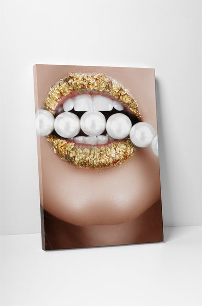 Beads and Gold Lipstick Canvas Wall Art