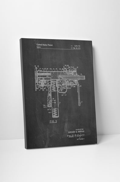 Uzi Submachine Gun Patent Canvas Wall Art