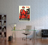 Vintage Ad Poster WWII Russian Propaganda Canvas Wall Art