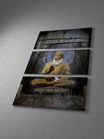 Banksy Injured Buddha Triptych Canvas Wall Art