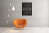 Harley Motorcycle Patent Canvas Wall Art