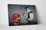 Banksy Mario Bros Mushroom Stretched Canvas Wall Art
