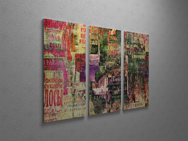 Old Poster Clippings Canvas Wall Art