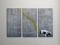 Banksy Pissing Dog Triptych Canvas Wall Art