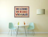 Vintage Ad Poster WWII Vive La France Canvas Wall Art