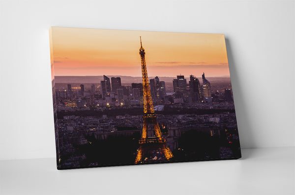 Paris Eiffel Tower at Night Skyline Canvas Wall Art