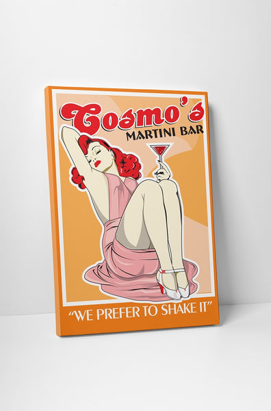 Vintage Sign Cosmo's Martini Bar Canvas Wall Art