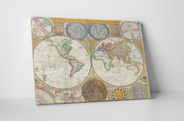 Vintage Map of The World Canvas Wall Art