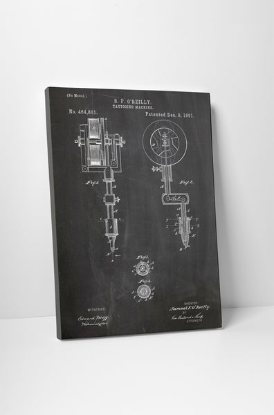 Tattooing Machine Patent Canvas Wall Art