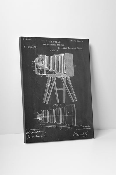 Retro Photo Camera Patent Canvas Wall Art